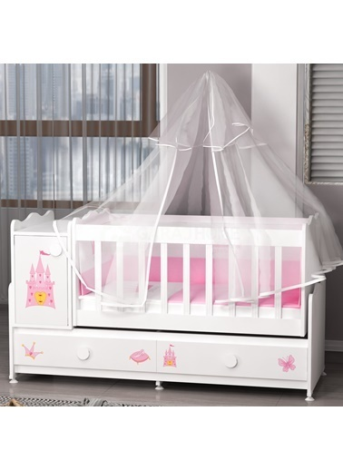 Garaj Home Garaj Home Pırlanta Yıldız 4Lü Prenses Bebek Odası Takımı - Yatak Ve Uyku Seti Kombinli/ Uyku Seti Pembe Pembe